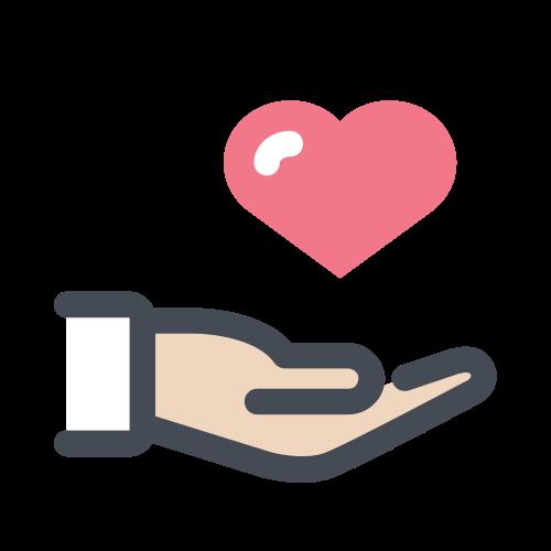 Ikon med bilde av en hånd med hjerte over